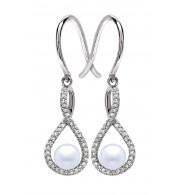 Silver Pearl Birthstone and Diamond Earrings (June)