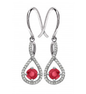 Silver Ruby Birthstone and Diamond Earrings (July)