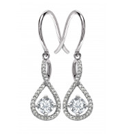 Silver White Topaz Birthstone and Diamond Earrings (April)