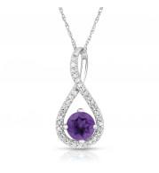Silver Amethyst Birthstone and Diamond Swirl Pendant (February)