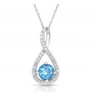 Silver Blue Topaz Birthstone and Diamond Swirl Pendant (December)