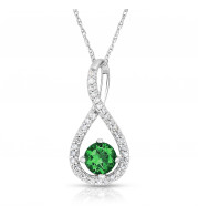 Silver Emerald Birthstone and Diamond Swirl Pendant (May)