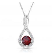 Silver Garnet Birthstone and Diamond Swirl Pendant (January)