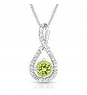 Silver Peridot Birthstone and Diamond Swirl Pendant (August)