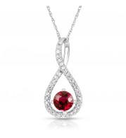 Silver Ruby Birthstone and Diamond Swirl Pendant (July)
