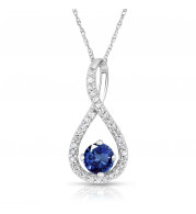 Silver Sapphire Birthstone and Diamond Swirl Pendant (September)