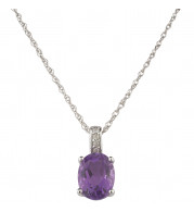 14KT White Gold 8x6 Oval Amethyst Birthstone Pendant (February)