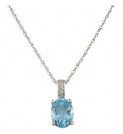 14KT White Gold 8x6 Oval Blue Topaz Birthstone Pendant (December)