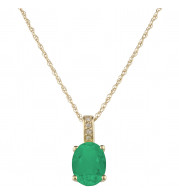 14KT Yellow Gold 7x5 Oval Emerald Birthstone Pendant (May)