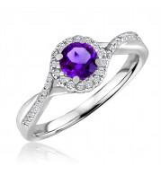 Silver Amethyst Birthstone and Diamond Ring (February)