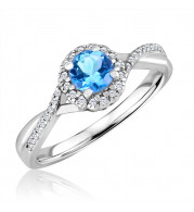 Silver Blue Topaz Birthstone and Diamond Ring (December)