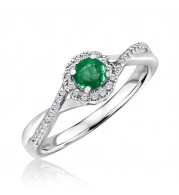 Silver Emerald Birthstone and Diamond Ring (May)