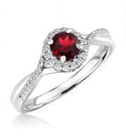 Silver Garnet Birthstone and Diamond Ring (January)
