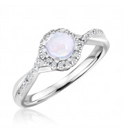 Silver Opal Birthstone and Diamond Ring (October)