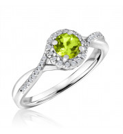 Silver Peridot Birthstone and Diamond Ring (August)