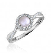 Silver Pearl Birthstone and Diamond Ring (June)