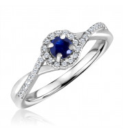 Silver Sapphire Birthstone and Diamond Ring (September)