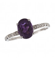 14KT White Gold 8x6 Oval Amethyst Birthstone Ring (February)