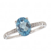14KT White Gold 8x6 Oval Blue Topaz Birthstone Ring (December)