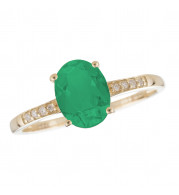 14KT Yellow Gold 7x5 Oval Emerald Birthstone Ring (May)