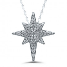 10k White Gold Star Pendant