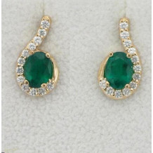 Custom Design Emerald and Diamond Earrings