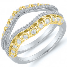 Two Tone 14k Gold Diamond Free Form Engagement Ring