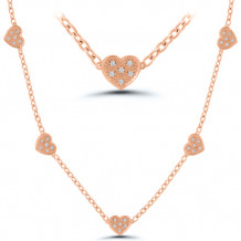Sterling Silver & 14k Rose Gold Diamond Necklace