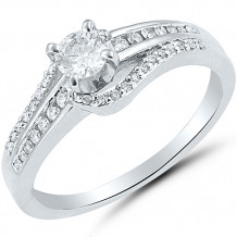 10k White Gold Diamond Split Shank Engagement Ring