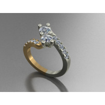 Custom Design Two-Tone Diamond U&I Ring