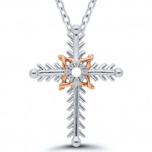 Sterling Silver & 14k Rose Gold Diamond Pendant