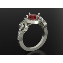 Custom Design Ruby and Diamond Halo Engagement Ring