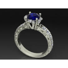 Custom Design Blue Sapphire Diamond Engagement Ring