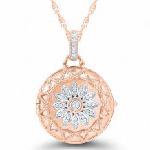 Sterling Silver & 14k Rose Gold Diamond Locket