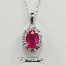 Denise Anne 14k White Gold Diamond and Ruby Pendant