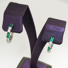 Denise Anne Diamond and Emerald Earrings