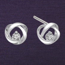 Denise Anne Sterling Silver Time & Eternity Diamond Earrings