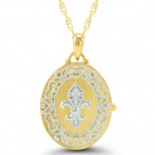 Sterling Silver & 14k Yellow Gold Diamond Locket