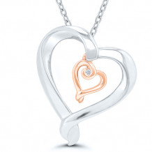 Sterling Silver & 10k Rose Gold Diamond Pendant