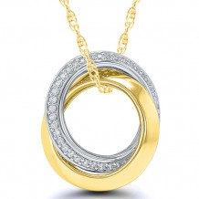 Sterling Silver & 14k Yellow Gold Diamond Pendant