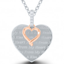 Kissing Hearts Sterling Silver & 10k Gold Diamond Pendant