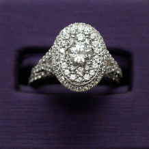 Denise Anne 14k White Gold Double Halo Diamond Engagement Ring