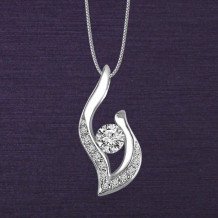 Denise Anne 14k White Gold Passions Flame Diamond Pendant