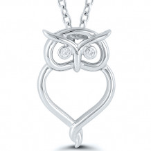 Kissing Hearts Sterling Silver Diamond Pendant