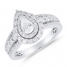 14k White Gold Diamond Double Halo Engagement Ring