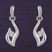 Denise Anne Sterling Silver Passions Flame Diamond Earrings
