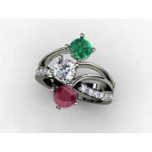 Custom Design Ladies Diamond, Ruby and Emerald Fashion Ring