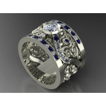 Custom Design Men's Diamond and Sapphire Band