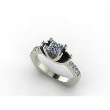 Custom Design Diamond and Sapphire Engagement Ring