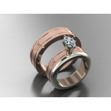 Custom Design Copper and White Gold Solitaire Engagement Ring and Wedding Band Set